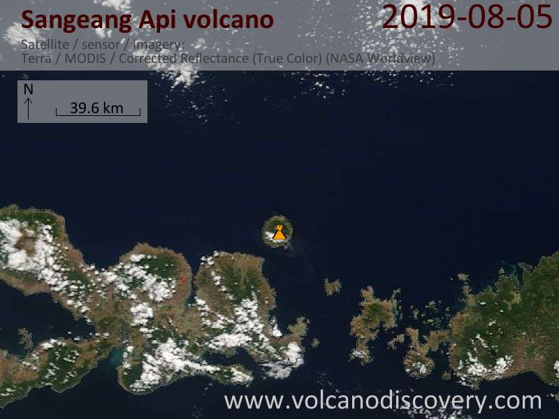 Satellite image of Sangeang Api volcano on  5 Aug 2019