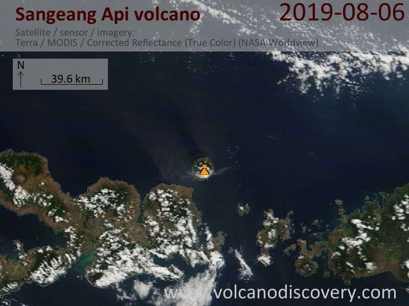Satellitenbild des Sangeang Api Vulkans am  6 Aug 2019