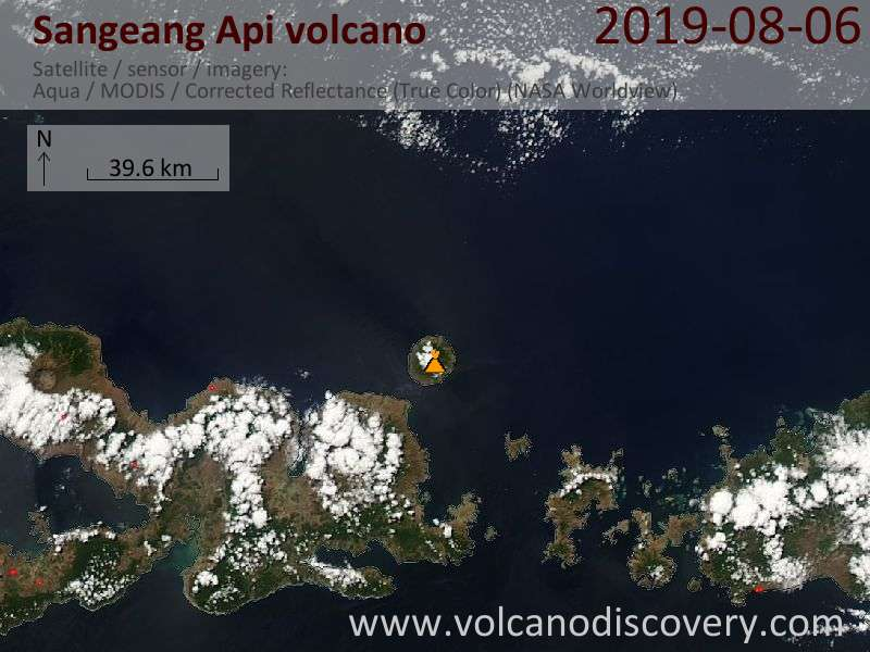 Satellite image of Sangeang Api volcano on  7 Aug 2019