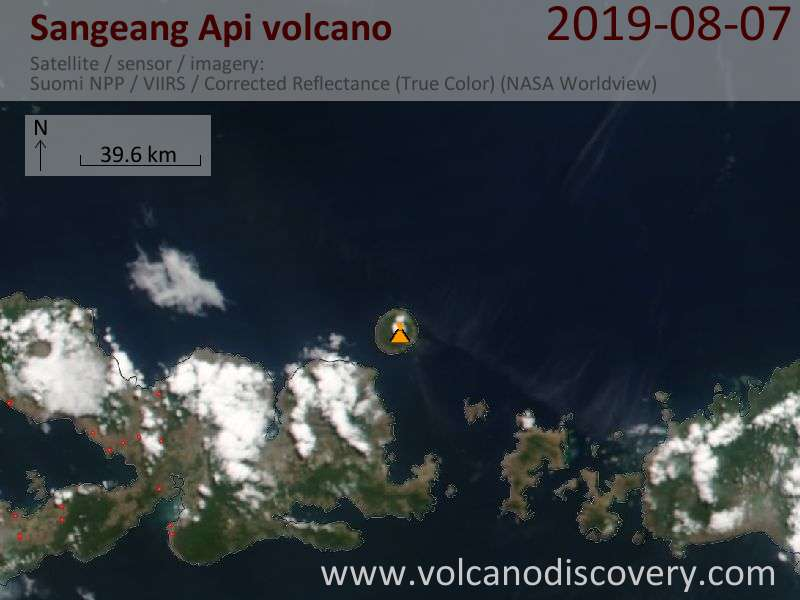 Satellite image of Sangeang Api volcano on  8 Aug 2019