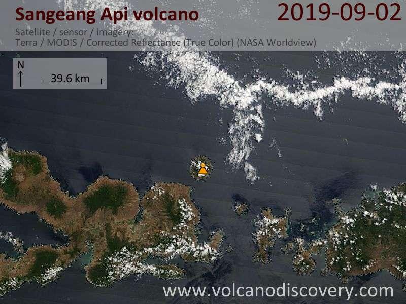 Satellitenbild des Sangeang Api Vulkans am  2 Sep 2019