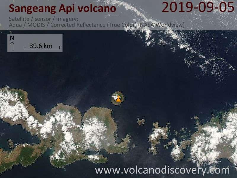 Satellite image of Sangeang Api volcano on  5 Sep 2019
