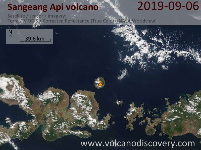 Satellite image of Sangeang Api volcano on  6 Sep 2019