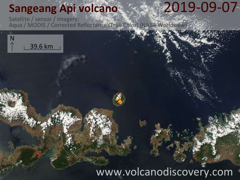 Satellitenbild des Sangeang Api Vulkans am  7 Sep 2019