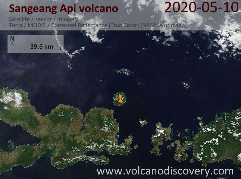 Satellite image of Sangeang Api volcano on 10 May 2020
