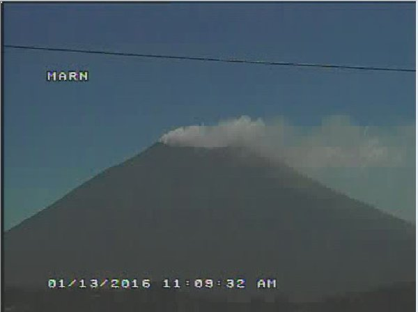 Ash emissions from San Miguel volcano this afternoon