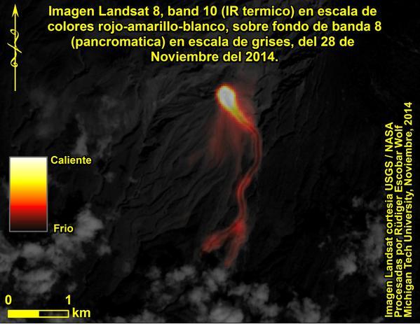 Thermal image, Landsat 8 satellite, 29 Nov 2014 (credit: Rudiger Escobar Wolf @rudigerescobar / twitter)