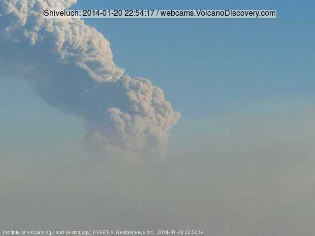 Ash column rising from Shiveluch volcano this morning