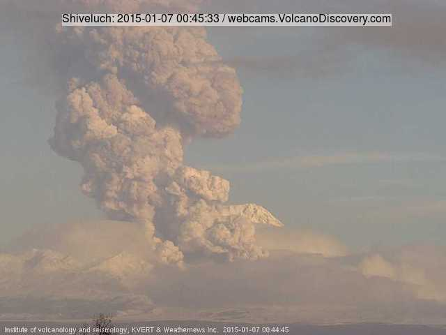 Eruption column from Shiveluch this morning