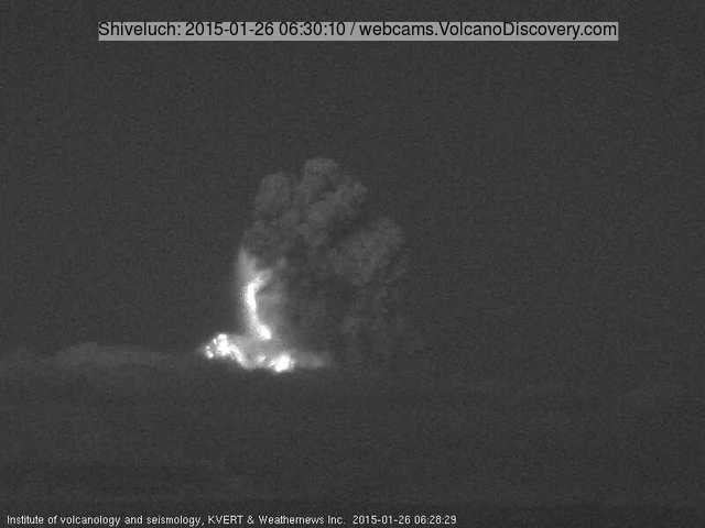 Explosion at Shiveluch this morning. Note the incandescent deposits of glowing bombs on the flanks and inside (along with lightning?) the eruption column.