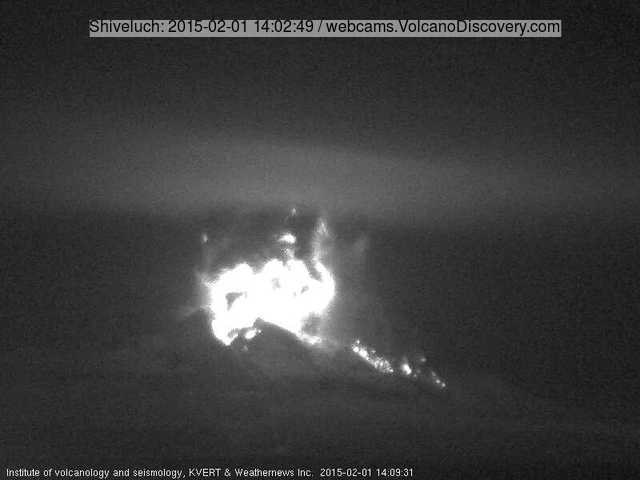 Eruption at Shiveluch volcano this morning (KVERT webcam)