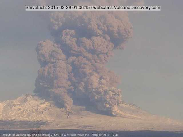 Explosion and pyroclastic flow from Shiveluch on 28 Feb