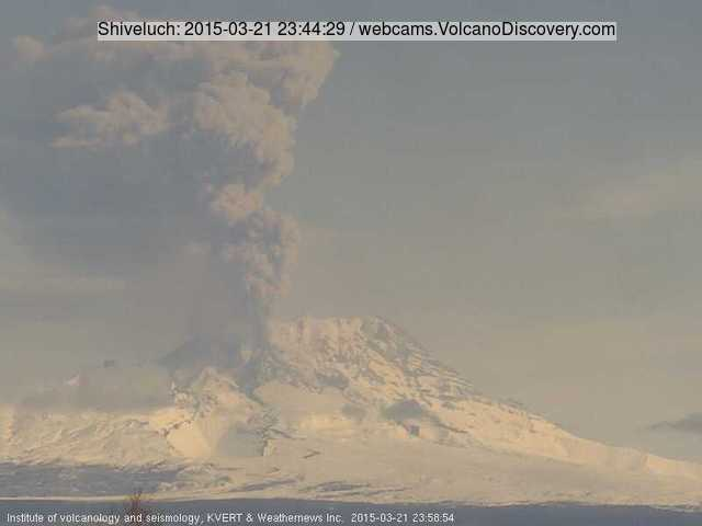Eruption from Shiveluc this morning