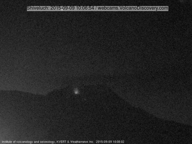 Glow from Shiveluch's lava dome