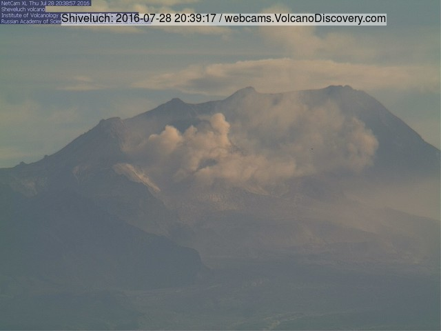 Small ash plume from an avalanche at Shiveluch volcano yesterday (KVERT webcam)