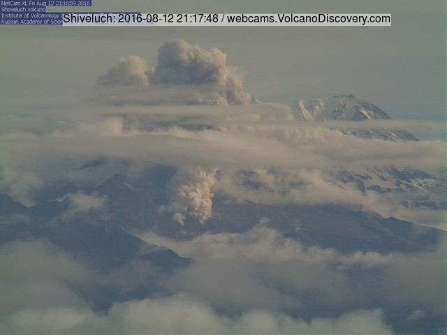 KVERT webcam image showing the first pyroclastic flow at Shiveluch yesterday