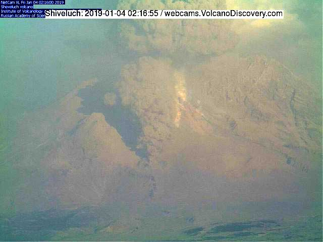 Pyroclastic flow at Sheveluch yesterday (this morning GMT) (KVERT webcam)