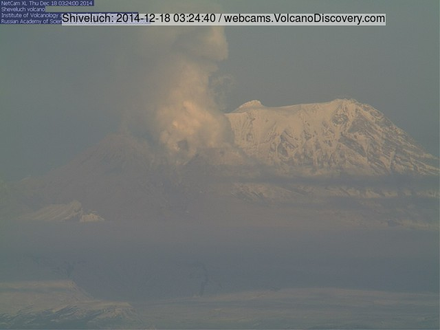 Steaming from the active lava dome of Shiveluch this morning (KVERT webcam)