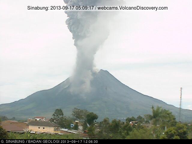Eruption of Sinabung this morning (VSI webcam)