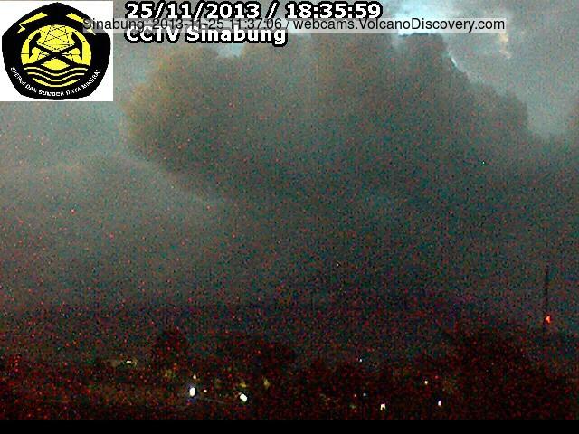 Ash plume van Sinabung vandaag