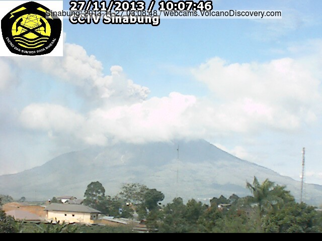 Continue as emissies van Sinabung vandaag (VSI webcam)
