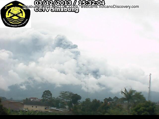 Ash emissie uit Sinabung vulkaan vandaag