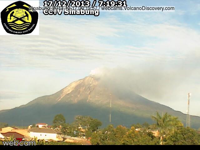 Ontgassing van Sinabung vulkaan vanochtend (VSI webcam)