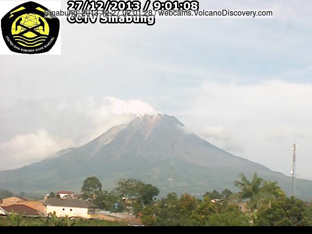 Dampende Sinabung vulkaan vanochtend