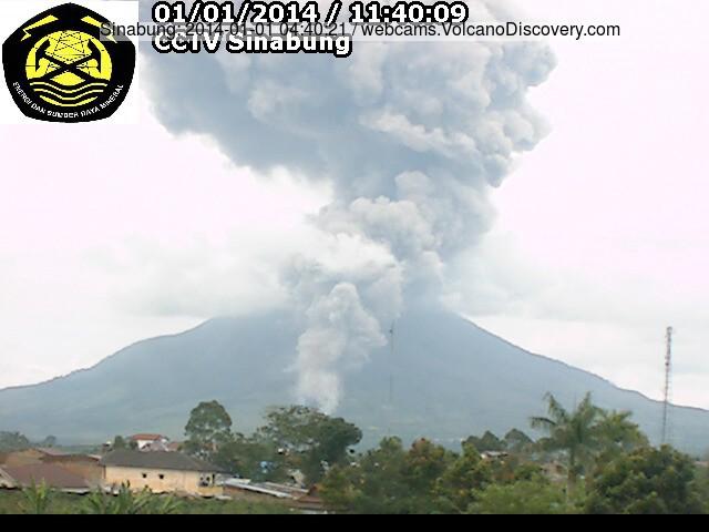 Explosie en pyroclastische stroom van Sinabung gisteren