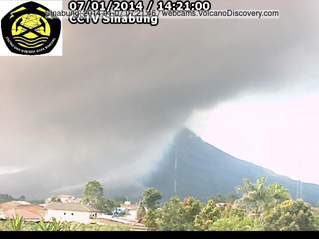 Ash plume van een pyroclastische stroom vanmorgen en de delta van de verse pyroclastische afzettingen op th SE voet van Sinabung