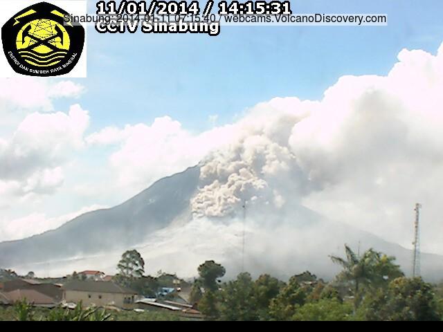 Pyroclastische stroom op Sinabung vanochtend