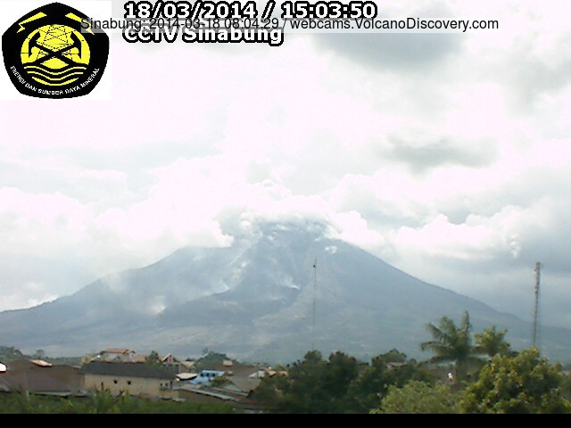 Sinabung volcano yesterday (steam indicates hot areas on the lava lobe)
