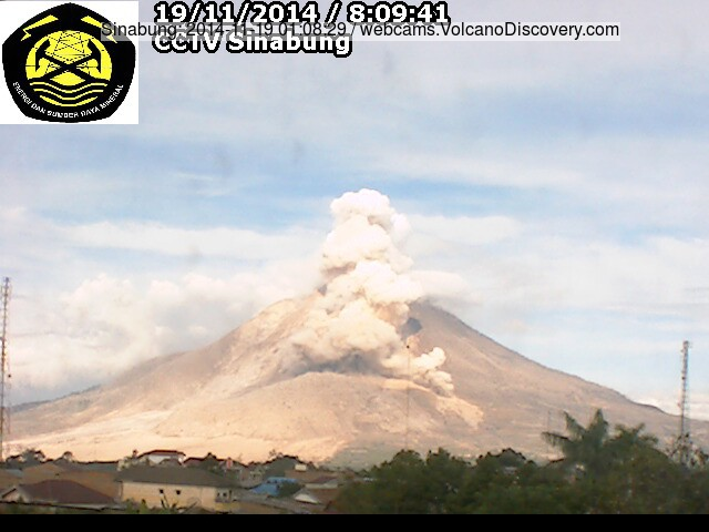 Smaller pyroclastic flow at Sinabung this morning