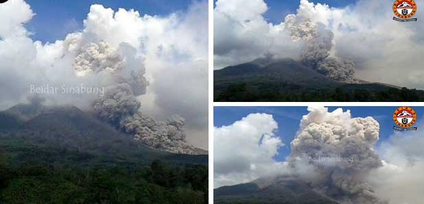 Pyroclastic flow on Sinabung Saturday noon (source: Leopold Kennedy Adam ‏@LeopoldAdam / twitter)