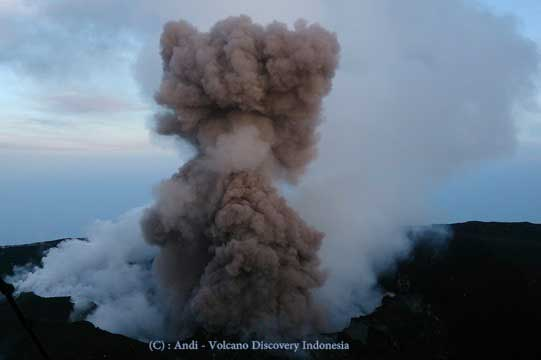 Strombolian activity at Slamet volcano a few days ago