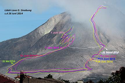 Evolution of the lava lobe at Sinabung volcano (VSI)
