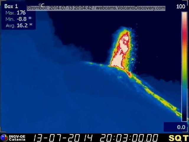Strombolian eruption from Stromboli's NE vent yesterday