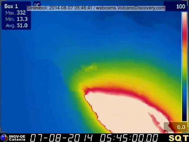 Thermal image of the large lava flow from Stromboli after a collapse (?)