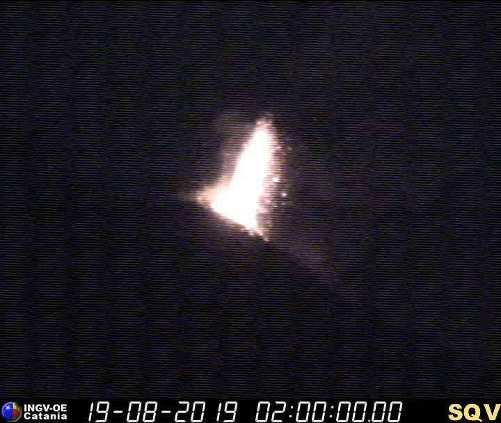 Strong strombolian eruption at Stromboli last night (image: INGV Catania webcam)