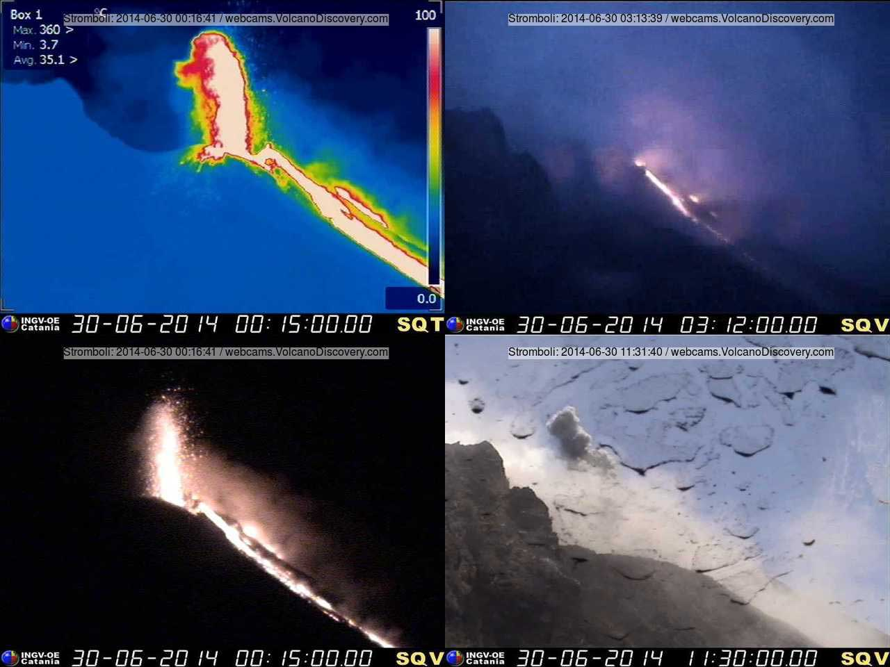 Webcam images of the lava flow on Stromboli's Sciara del Fuoco this night and morning