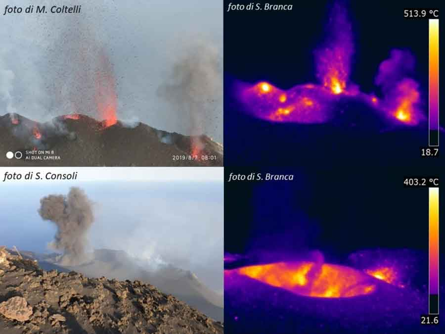 Above: strombolian eruptions from the northern vent cluster at Stromboli; below: ash-rich eruption from the cinder cone in the CS crater area (image: INGV Catania)