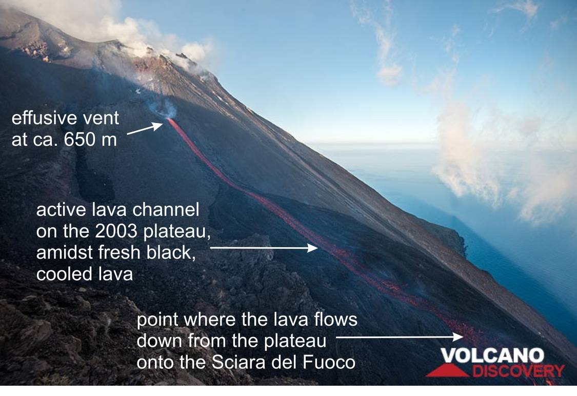 View onto the upper part of the lava flow early on the 10th of August, showing the trajectory of the lava from the vent down onto and across the plateau before it flows down the Sciara del Fuoco. Only the vent at the origin and the overflow from the plateau are visible from the 400 m webcams.