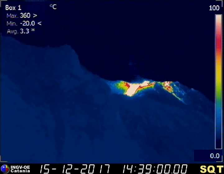 Thermal image of the new lava flow on Stromboli volcano (INGV Catania thermal webcam)