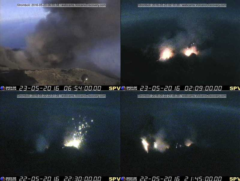 Some explosions at Stromboli this morning and during the night, from 3 different vents