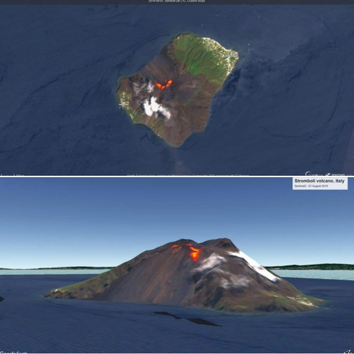 Thermal signals on Stromboli placed over a google earth 3D view showing the active vents and lava overflows in the upper part of the Sciara (image: Civil Protection / facebook)