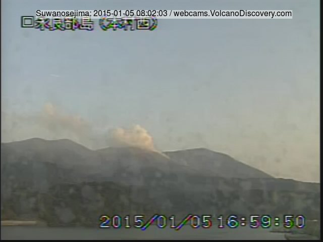 Small plume from Suwanosejima volcano this morning