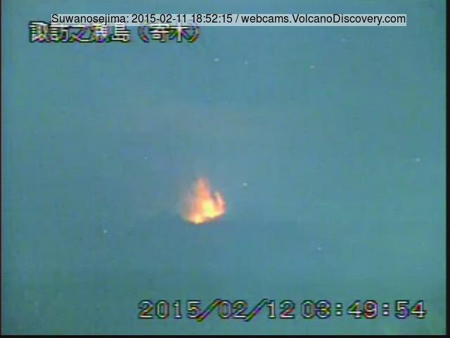 Strombolian eruption from Suwanosejima volcano this morning, seen from Nakanoshima Island in 30 km distance (JMA webcam)