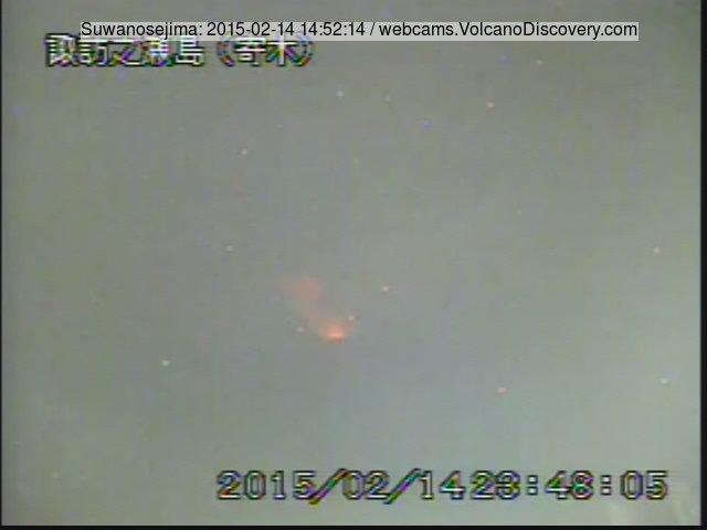 Glow from strombolian activty at Suwanose-jima volcano