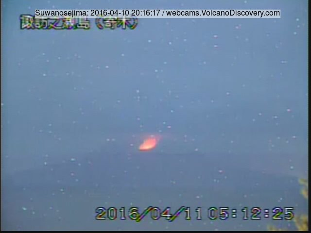 Glow from Suwanose-jima's active crater last night