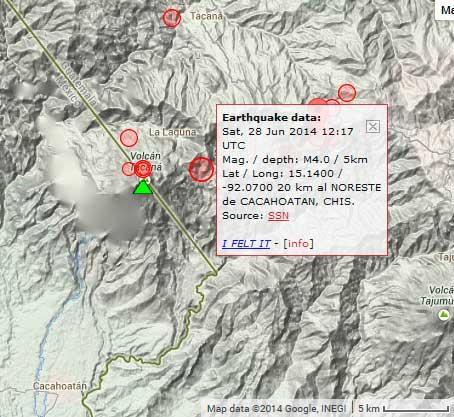 Recent earthquakes near Tacaná volcano